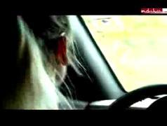 Blonde hot in car gearstick