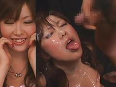 Busty jav-girl - split screen bukkake