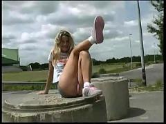 Blond teen public upskirt