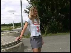 Blond teen public upskirt