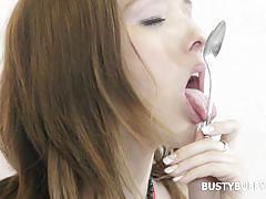 babe, solo, masturbation, big boobs, cream, brunette, food fetish, busty buffy, busty buffy