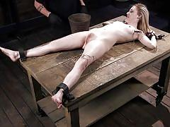 small tits, bdsm, electric, clamps, clothespins, metal bondage, pussy hair, device bondage, kink, the pope, violet october