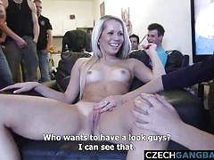 blonde, babe, big cock, gangbang, czech, amateur, blowjob, cumshots, from behind, pov sex, czech gang bang, czech av