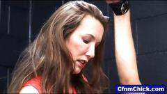 Femdom dominas jack off their bound slave