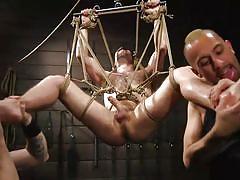 gays, blindfolded, rope bondage, suspended, bdsm, threesome, feet licking, anal insertion, vibrator, domination, men on edge, kink men, joey wagner