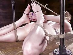 milf, tattoo, blonde, bdsm, punishment, vibrator, from behind, device bondage, latex gloves, rope bondage, hogtied, kink, violet october