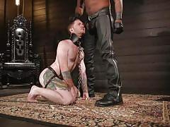 bdsm, handjob, whipping, interracial, leather, humiliation, black, domination, tattoo, licking boots, suspended, bound gods, kink men, seamus o'reilly, ace rockwood