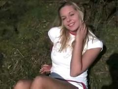 Young blonde teen outdoor pov