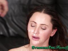 Teen stepsister cum 3some