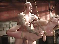 blonde, bdsm, big tits, babe, punishment, domination, face fuck, from behind, suspended, rope bondage, standing fuck, kink, derrick pierce, gabi gold