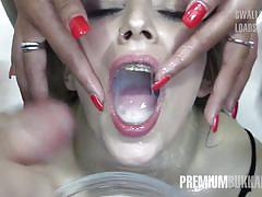 Alma swallows 64 huge mouthful cum loads