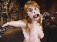 bdsm, babe, redhead, punishment, busty, tits torture, mouth gag, metal bondage, device bondage, kink, penny pax