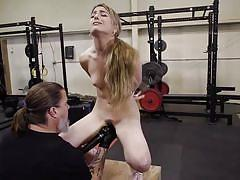 Hard leather whip caresses her hairy pussy