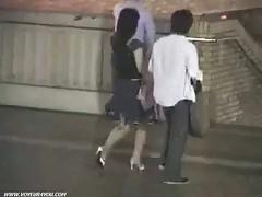 Two japanese couples night park sex