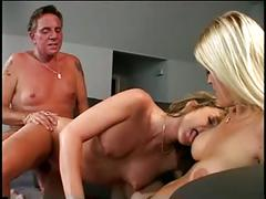 Sizzling blonde and brunette suck and take cock on a couch