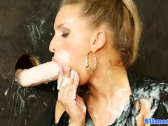 Gloryhole loving euro sucks for cream