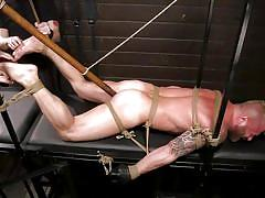 gays, rope bondage, mouth gag, bdsm, big cock, cock torture, handjob, blonde, threesome, anal, dildo, domination, tied up, men on edge, kink men, riley mitchell
