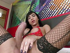 shemale, big cock, bubble butt, anal insertion, solo, asian, masturbation, dildo, fishnets, butt plug, shemale idol, evil angel, yasmim dornelles, tony lee