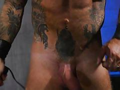 tattooed, bound, mouth gag, bdsm, cock torture, whipping, anal, handcuffed, domination, cock sucking, muscular, latex mask, bound gods, kink men, tony orlando, jason collins