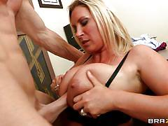 Hot blonde milf with her huge big titties