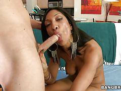 Gorgeous brunette sucks big hard cock
