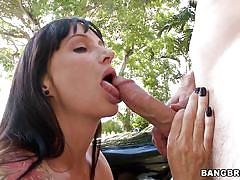milf, outdoor, big cock, blowjob, big boobs, fingering, black hair, squeezing tits, licking balls, hard nipples, tattooed body, licking clitoris, angie noir, milf soup, bang bros