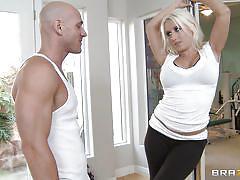 Pole dancing blonde sucks cock