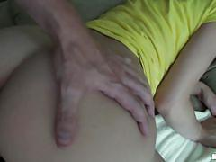 Girl in yellow dress wants it in her ass