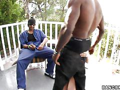 orgasm, blonde, threesome, heels, interracial, blowjob, monster cock, from behind, cute girl, outdoors, bbc, sadie sable, monsters of cock, bang bros