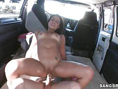 Hot babe getting fucked in the buss
