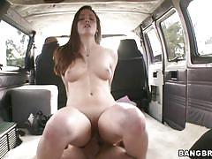 Young woman is being rammed in the backseat