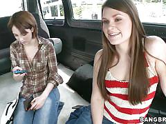 Hot chicks paied to get on the bang bus