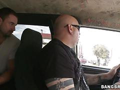 Brunette chick with straight hair is on the bang bus