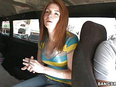 young, money talks, street, red head, car, public pickup, blake west, bang bus, bang bros