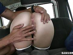 Sexy redhead gives head in a bus