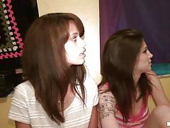Three girls playing a blowjob game