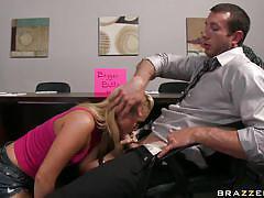 Hot blonde babe starts sucking big hard cock