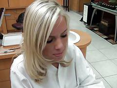 Gorgeous blonde dentist gives a blowjob