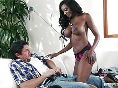 Hot ebony milf licking one white meat!