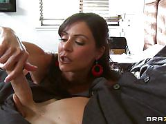 Sexy milf wearing stocking giving a hot blowjob