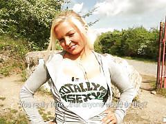 small tits, blonde, public, for money, outdoors, veronika czech, public pickups, mofos cash