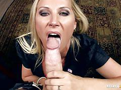 Hungry blonde milf sucking a big meaty cock