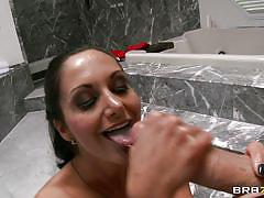 Hot milf sucking a young cock in the shower