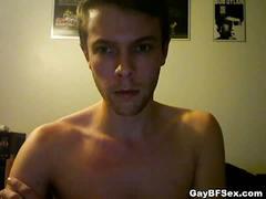 Cute gay newbie strips naked on webcam