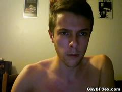 Cute gay newbie strips naked on webcam