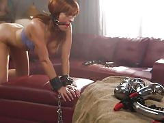 milf, bdsm, big tits, redhead, big cock, handcuffed, from behind, ball gag, nipple clamps, ass whipping, sex and submission, kink, tommy pistol, krissy lynn