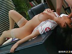 milf, handjob, big tits, big cock, nurse, doctor, blowjob, patient, from behind, on table, boobs groped, in hospital, doctor adventures, brazzers network, bambino, gia milana