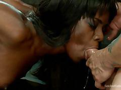 bdsm, babe, ebony, hanging, interracial, tied up, mouth fuck, black hair, ropes, sex and submission, kink, ana foxxx, mr. pete
