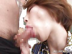 Kinky japanese teacher inspects her student's cocks