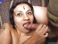Filthy indian whore sucks cock